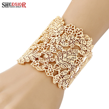 SHEEGIOR Gold Silver Hollow Big Cuff Bracelets for Women Men Fashion Jewelry Copper Alloy Flower Leaf Open Bangle Bracelet Gifts(China)