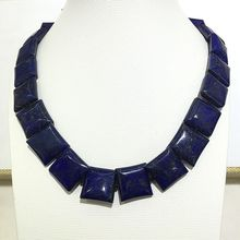 dark blue Lapis lazuli jewelry stone necklaces square shape plus size good shine bohemian bamboo choker style special for women