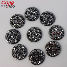Cong Shao 200pcs 14mm Round Resin Rhinestone Flat back Beads loose Rhinestone For Wedding Dress Garments Jewelry Accessory ZZ80(China)