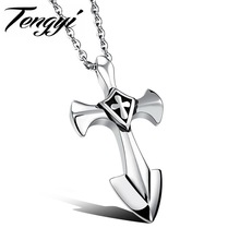 Punk Europe And America Men Catholicism Cross 316L Stainless Steel Necklaces Personality Pendant With Chain Best Gift TY1106(China)