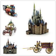 The pumpkin carriage Cinderella Castle Color puzzle Electroplating coloring Not fade 3D Metal assembly model Haunted House(China)