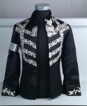 Custom Made New MJ Professional Cosplay MICHAEL JACKSON Costume This is it Black Jacket Diamond Shirt(China)