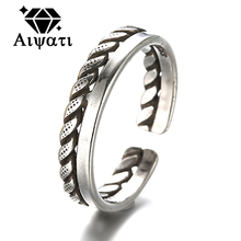 Rope Design Thailand Silver Jewelry Rings Vintage 925 Silver Rings For Women