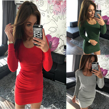 2017 Autumn Dress women Sexy bodycon vestidos round neck casual ukraine sweater Dresses Above Knee long sleeve red Party dress