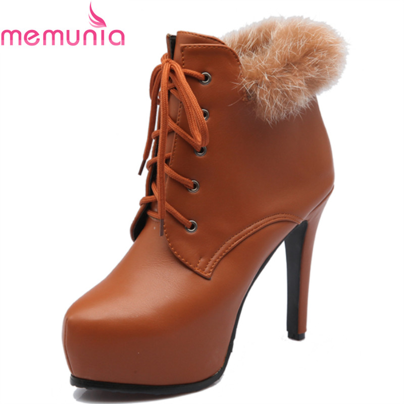 Winter 2007 classic fashion ladies boots stiletto high heels round toe platform top quality pu ankle boots black brown<br><br>Aliexpress