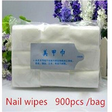 2017 Removal Wraps 900PCS White Nail Art Wipes Cotton Manicure Nail Polish Remover gel Cosmetics Cleaner Wipe for fingernails(China)