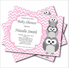 20 pcs Personalized Pink Owl Baby Shower Invitation Custom Owl Birthday Invites Baby Girl Shower party decoration supplier