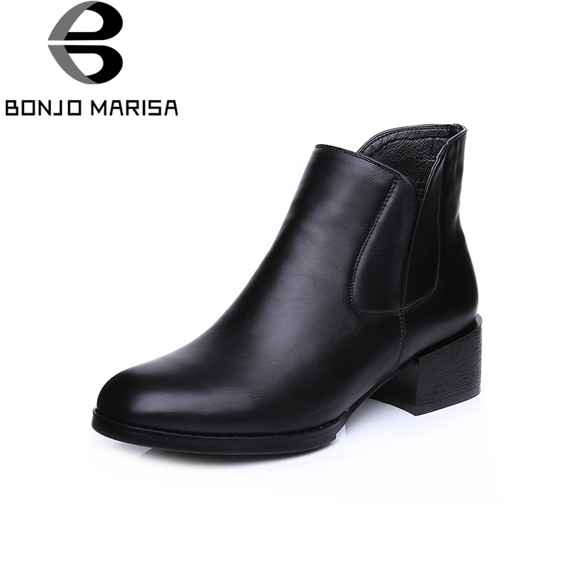 BONJOMARISA 2017 Fashion Spring And Autumn Mature Ankle Chelsea Boots Zipper Round Toe Med Square Heel Women Shoes Size 34-39<br>