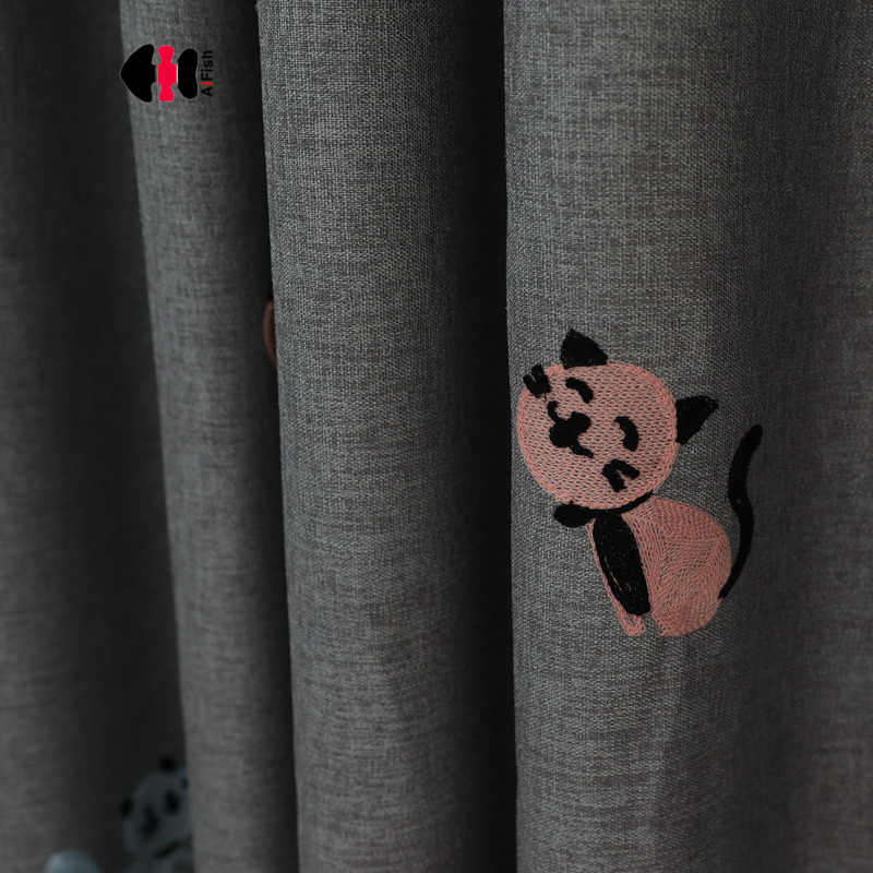 Cute Cartoon Cat Embroidered Curtain Thick Fabric Kids Boys Sons Girls Children Bedroom Kindergarten Nursery Drapes Panel WP131C