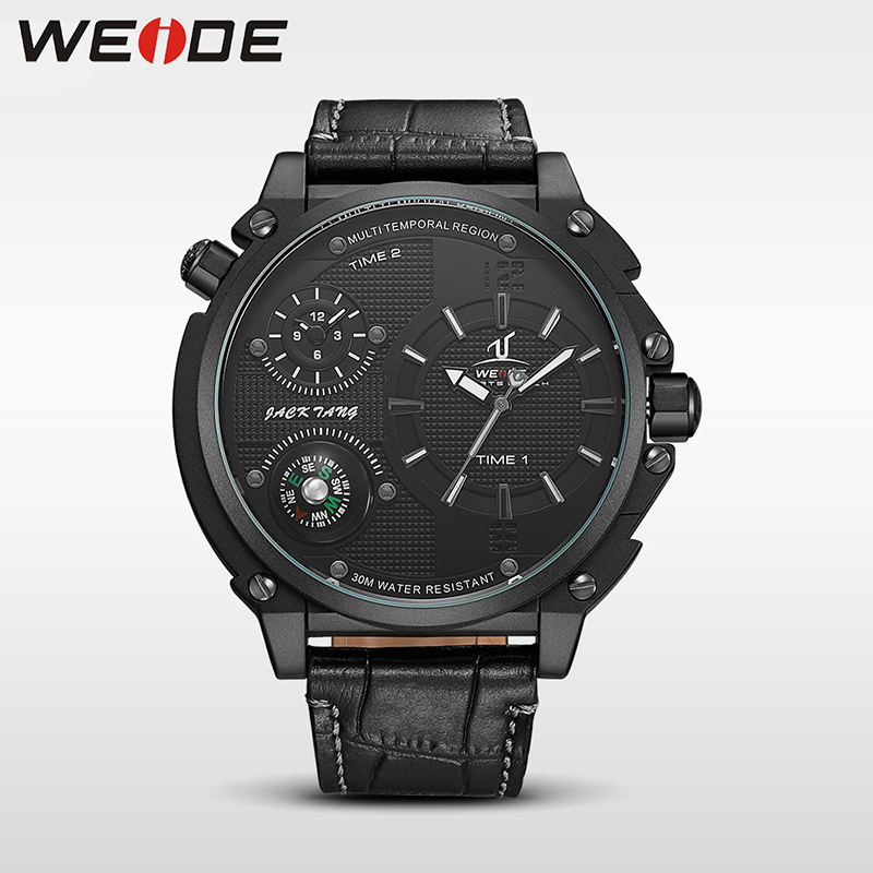 WEIDE Brand Dig Dial Men Quartz Watch Top Band Multifunctional Sport Watches Man Compass Multi Time Zone Relogio Masculino Clock<br>