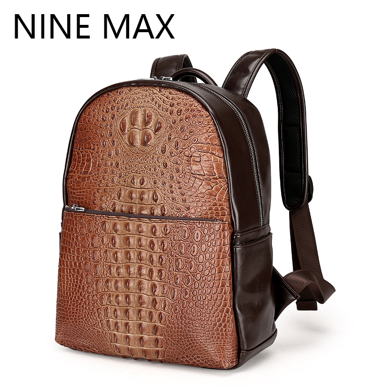 Polo Mens Fashion High Quality PU Leather Alligator Grain Large Capacity Backpack Luxury Daypack Business Male Black Rucksack<br>