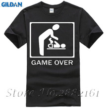 2017 New Arrival Men'S Fashion Game Over T-SHIRT Wedding Marriage Parent Infant Funny Humor Joke Gift Shirt