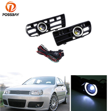 POSSBAY High Quality White/Red/Blue Front Bumper Angel Eyes DRL Daytime Running Driving Fog Light For VW GOLF GTI MK4 1998-2006(China)