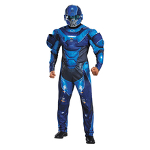 Men's Blue Spartan Athlon Costumes Jumpsuits And Helmet Halo 5 Guardians Cool Halloween Christmas Costumes Disfraces Adultos(China)