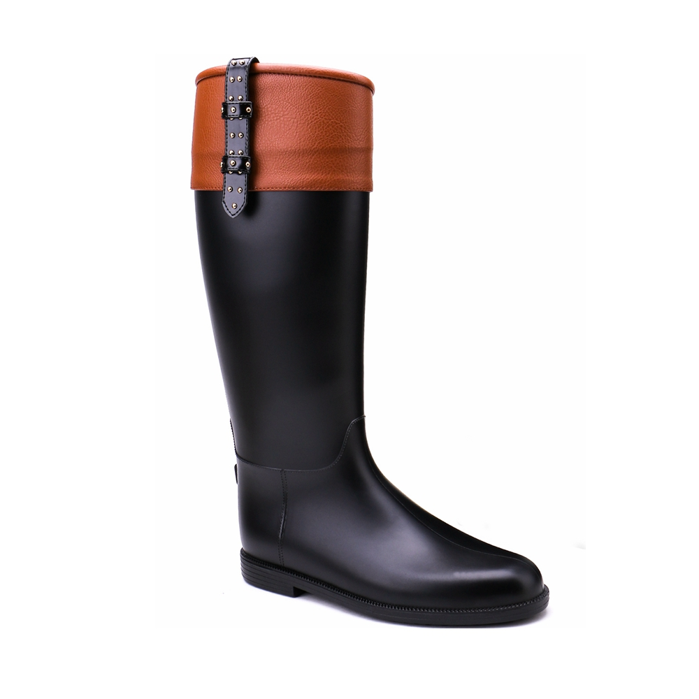 TONGPU Womens Zipper Closure Decorative Belted Black and Camel Waterproof Eco-PVC Rain Boots<br>