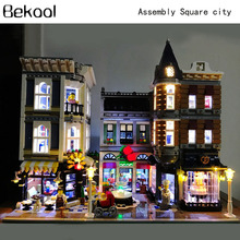 DHL Free Shopping Creator City Street Assembly Square Set With LED light up kit Compatible Legoe 10255 Building Blocks Toys New
