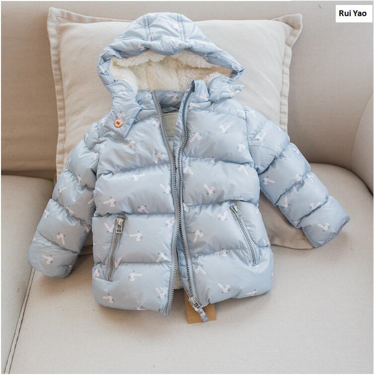 Ymila85 2017 New Winter Baby Girl Coat Print Rabbit Bunny Fleece Worm Hooded Print Girl Coat Girl Outerwear Girls Clothes Lolita<br>