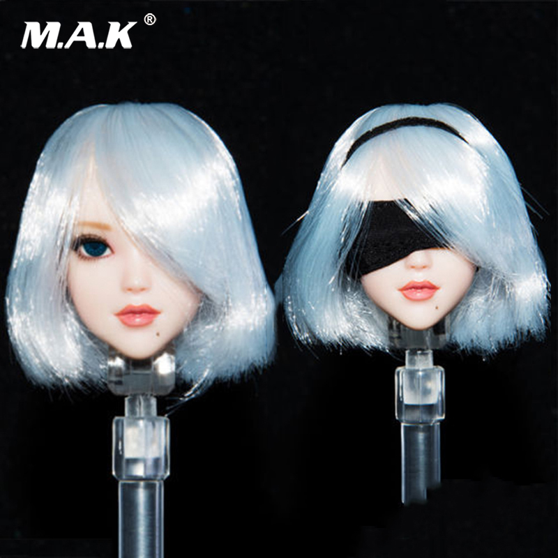 1/6 Scale NieR Head: Automata 2B Girl Long White Head Sculpt Sword Hand Set for 12 inches Female Action Figures<br>