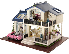 Provence villa Large DIY Wood Doll house 3D Miniature Dust cover+Light+Music box+Open car+Furnitures Home&Store decoration Model