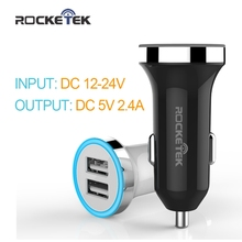 Rocketek intelligent Car Charger Dual USB Smart IC output 2.4A charging Mobile Phone Travel Adapter Cigar Lighter Car-Charger