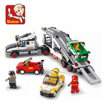 Sluban Auto Transport Truck B0339 Building Blocks Sets 638pcs Educational DIY Jigsaw Construction Bricks toys for children