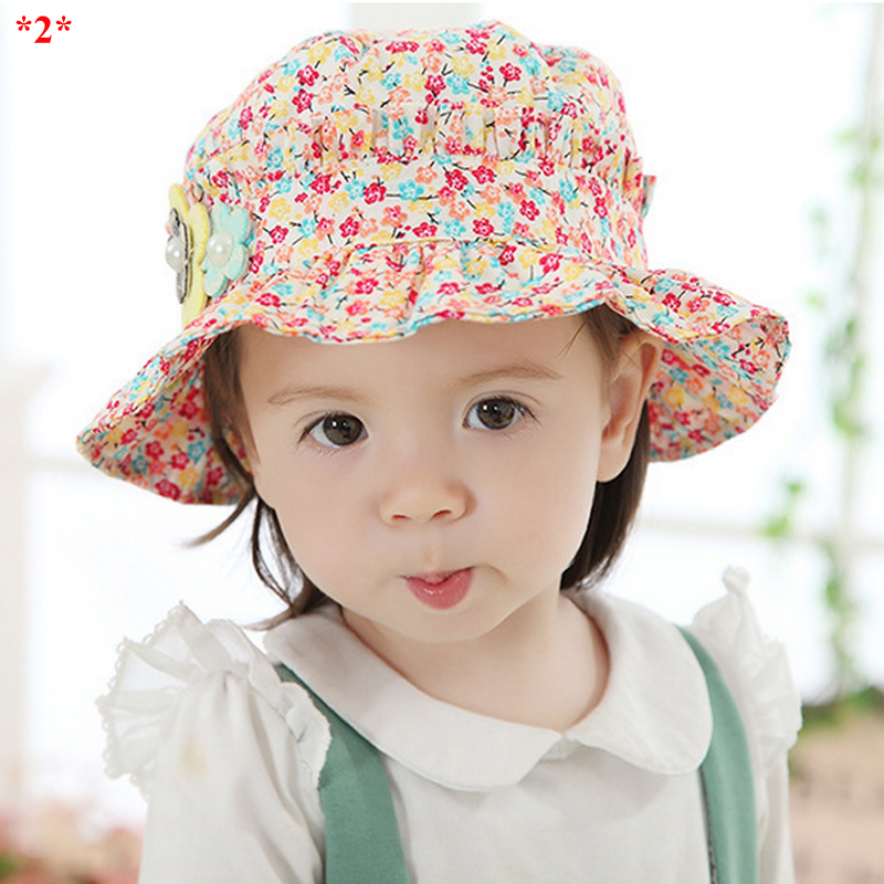 Adorable Floral Print Baby Girls Sun Protection Caps Spring Summer Soft Toddler Hats Cotton Flower Headgear for 6-18 Months Kids(China (Mainland))