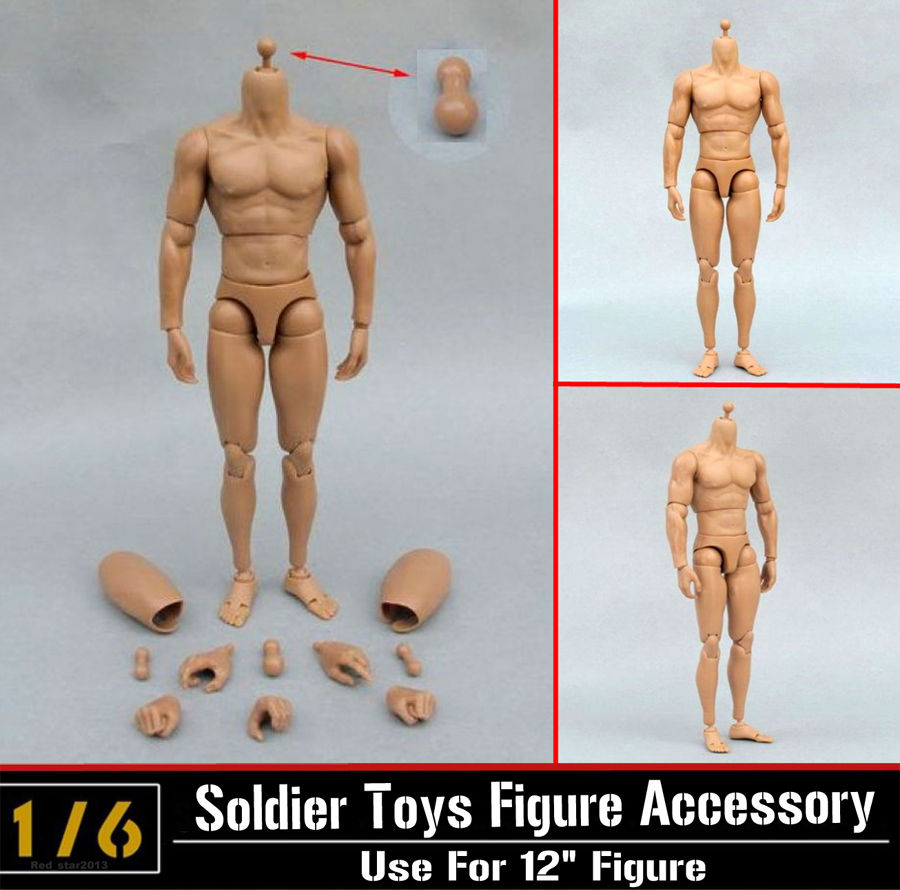 1/6 Very Hot 12 Figure Male Narrow Shoulder Military Soldiers Nude Muscle Body Without Head B005  Male Nude Body Figures Toys H<br><br>Aliexpress