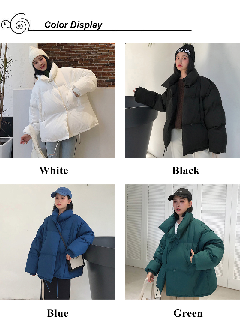 Korean Style 19 Winter Jacket Women Stand Collar Solid Black White Female Down Coat Loose Oversized Womens Short Parka 2