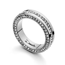 USTYLE brand Name Rhinestone Stainless Steel Women And Men Ring Fashion Jewelry Free Shipping UR0101