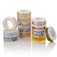 24 Patterns Tape Christmas and flower Print DIY Adhesive Masking Tape Japanese Washi Tape Paper 15mm*10m Wholesale