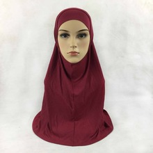 Plain cotton jersey 2 Piece Amira Hijab Muslim Scarf Aribian Wrap Scarves Most Popular Shawls, 22 colors, Free Shipping,2pc001