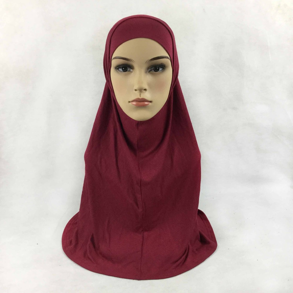 Plain cotton jersey 2 Piece Amira Hijab Muslim Scarf Aribian Wrap Scarves Most Popular Shawls, 22 colors, Free Shipping,2pc001(China)