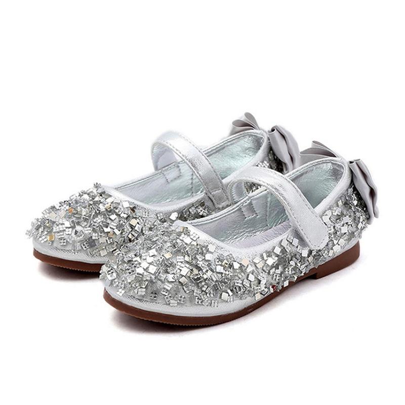 Fashion Girls Princess Flats Kids Children School Shoes Wedding Party Dance Size