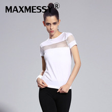 Maxmessy Pro Summer Fitness Women Sports T-shirt Running Short Sleeve Gym Sexy Hollow Sportswear Tennis Tops Running T Shirts(China)