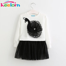 Keelorn Girls Dress 2017 Autumn Winter Kids Dresses Long Sleeved Cartoon Swan Lace Appliques Princess Dress 3-7Y girls clothes(China)