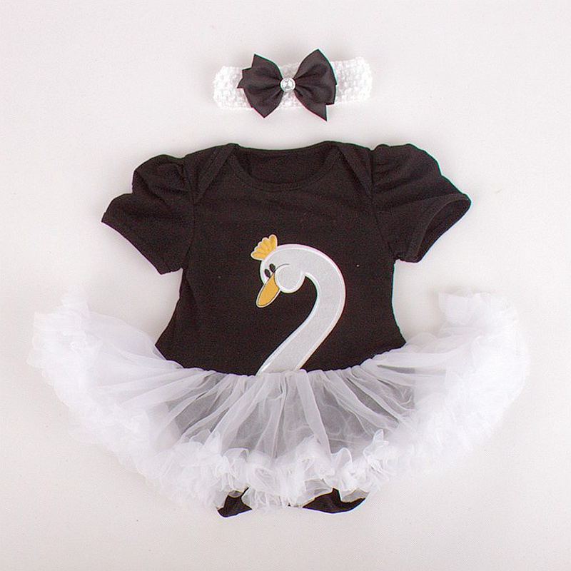 Black White Swan Lace Baby Girl Romper Bodysuit Dress + Headband 2PCS BEBE Newborn Tutu Sets Childrens Clothes Infant Clothing<br><br>Aliexpress