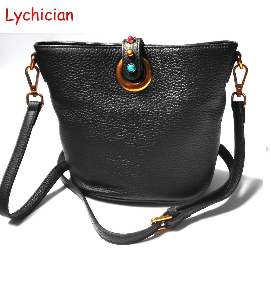 Women classic bucket shoulder bag messenger bag Lychee pattern cowhide real geniune leather colorful stone rivet decoration<br>