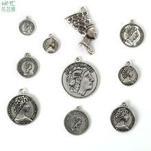 Good News High Quality 100% Antique Silver Plated Charms 10 Types Mixed Size For DIY Portrait Shape Pendant(China)