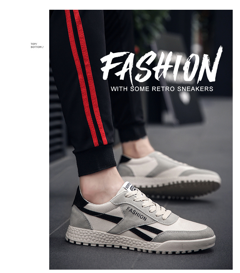 New Fashion Casual Flat Vulcanize Shoes For Men Breathable Lace-up Shoes Footwear Striped Shoes Flax And Cattle Cross Stitching 35 Online shopping Bangladesh