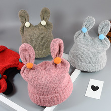 New Baby knit hat children autumn and winter ear protection head cap baby cartoon rabbit ears warm wool cap photography props