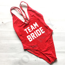 2017 Sexy Team Bride Swimsuit One Piece Swimwear Letter Print Bathing Suit Monokini Beachwear Low Back Bride Squad trikini(China)