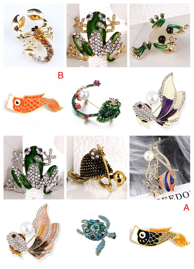 Rhinestone Fish Brooches For Women Fashion Enamel Turtle/Frog/Fish/Shrimp Brooch Pin High Quality Coat Accessories Gift 2019 New