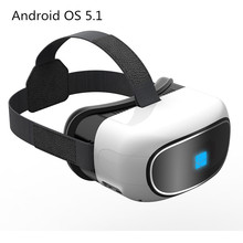 All in one Google Cardboard virtual reality 3D video Glass Android 5.1 Quad Core 1+8G Smart WIFI TF card Bluetooth 5inch Screen(China)