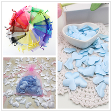 New 100PC 3CM Sponge Artificial Decorative Flower Heart Shaped Petals Wedding Decorations with a Gauze Element Bag 7ZSH791
