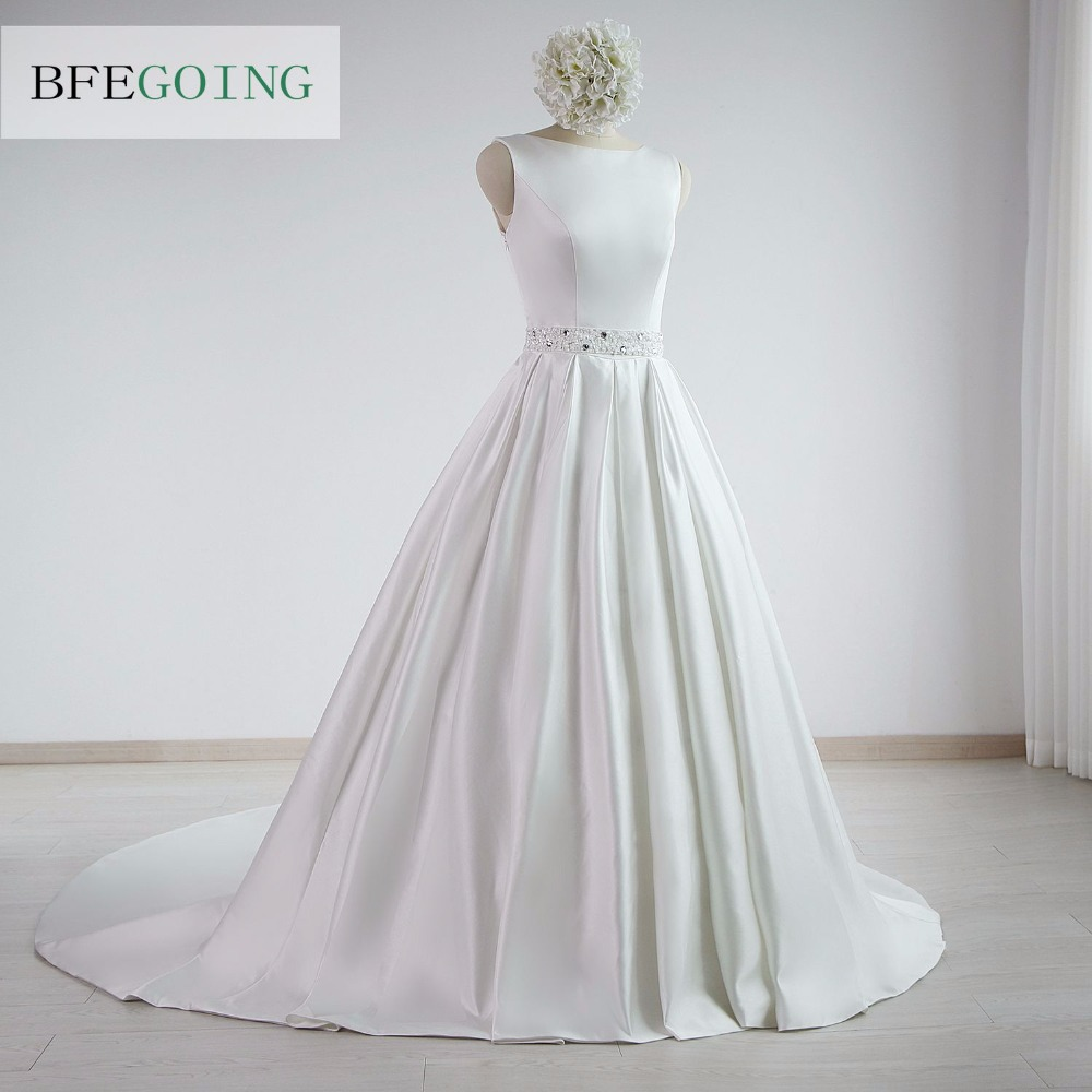 A-line Satin Boat Neck Wedding dress Floor-Length Chapel Train Sleeveless Beading Belt Real/Original Photos Custom made 2