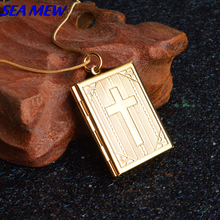 SEA MEW Fashion Lady's Necklace Copper Silver/Gold Color 35mm*27mm Square Photo Locket Pendant Necklace For Women Men ZX71(China)