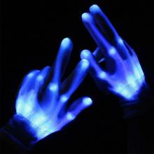 1 Pair LED Gloves Flashing Skull Led Finger Light Gloves for Halloween Event Party