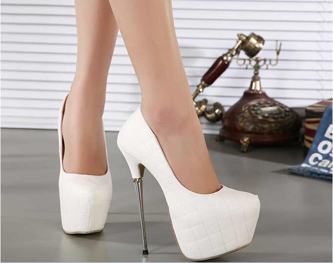 16cm high heels shoes white black pumps sexy thin heels round toe platform shoes Grid shoes sy-1057<br><br>Aliexpress
