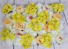 Yellow series artificial rose wedding flower wall backdrop road lead flower table centerpiece flower ball for party market