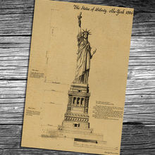 America New York USA Statue of Liberty Vintage Movie Kraft Paper Poster Living Room Decor Retro Wall Sticker Painting(China)